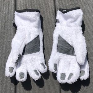 North Face white fuzzy gloves